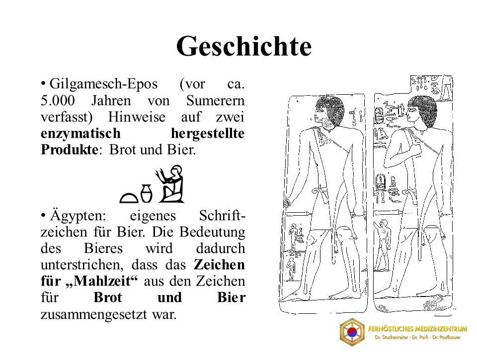 Geschichte Gilgamesch-Epos (vor ca. 5.000 Jahren von Sumerern verfasst) Hinweise auf zwei enzymatisch hergestellte Produkte: Brot und Bier.