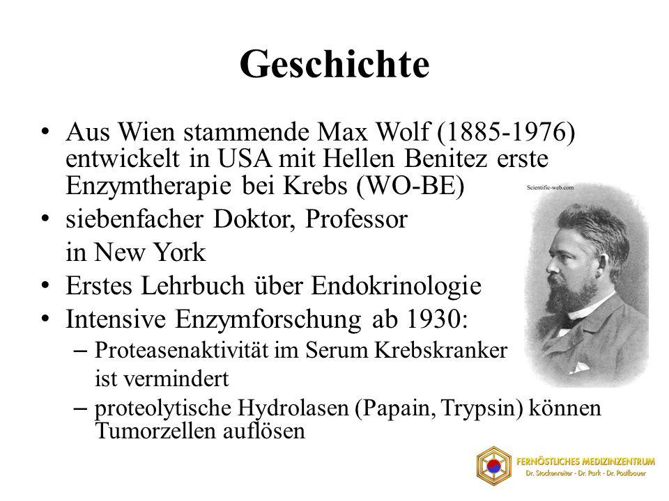 Geschichte Aus Wien stammende Max Wolf (1885-1976) entwickelt in USA mit Hellen Benitez erste Enzymtherapie bei Krebs (WO-BE)