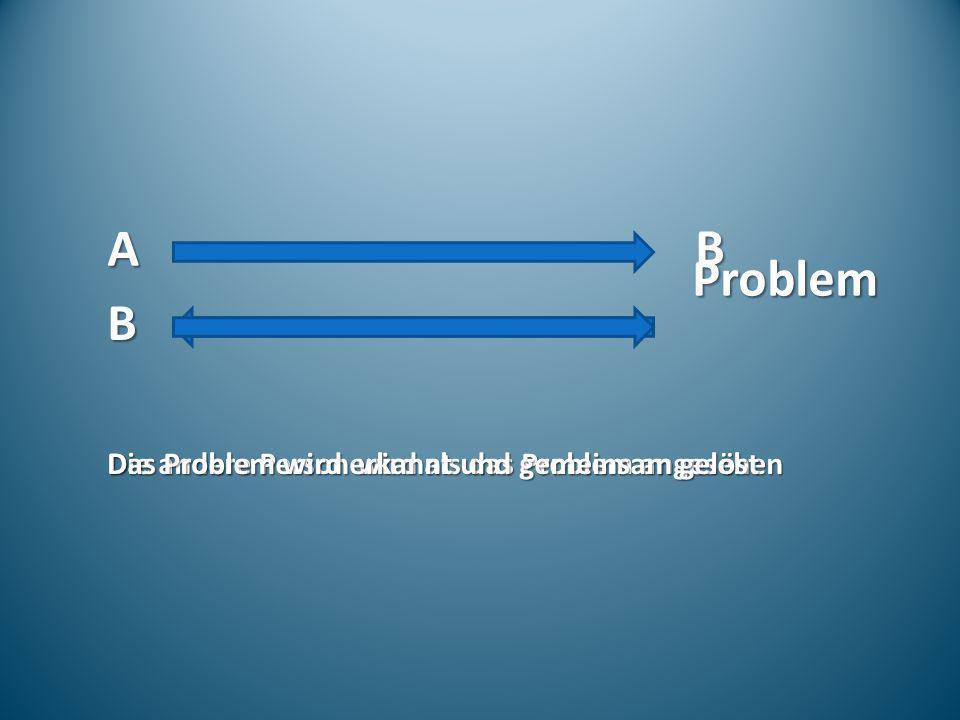 A B Problem B Die andere Person wird als das Problem angesehen