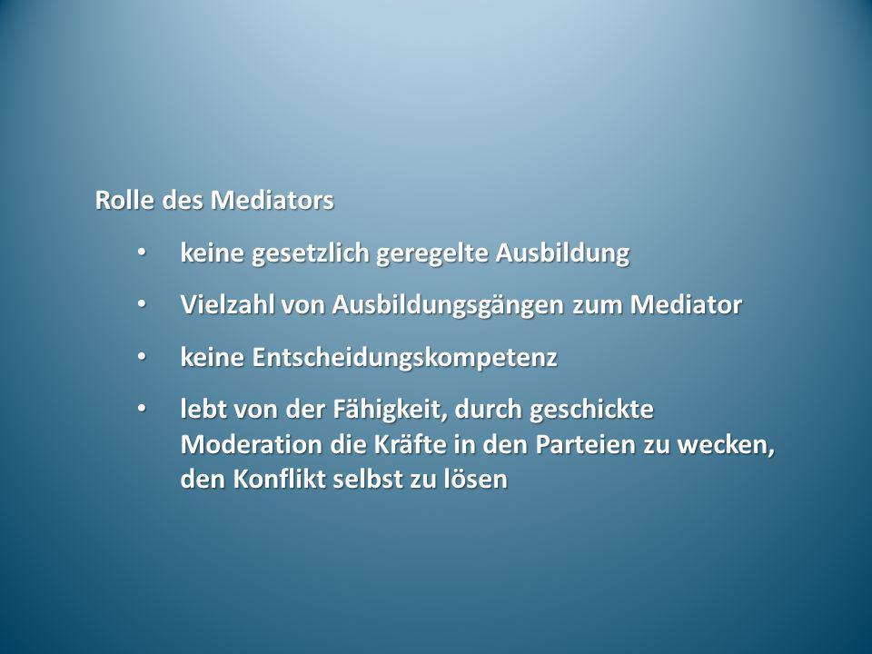 Rolle des Mediators keine gesetzlich geregelte Ausbildung. Vielzahl von Ausbildungsgängen zum Mediator.