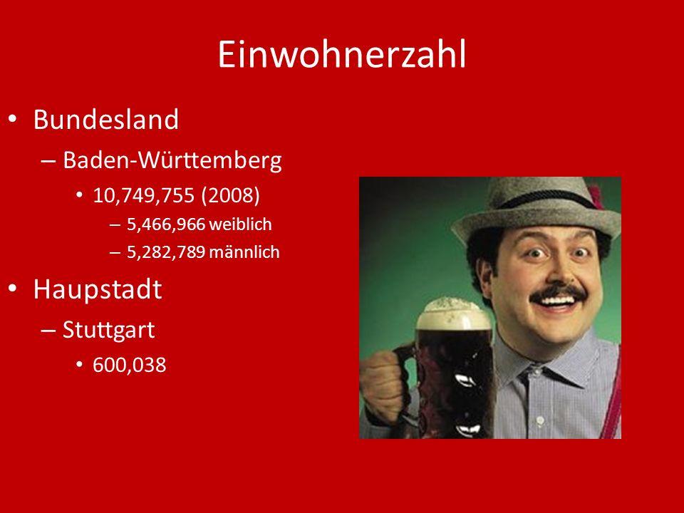 Einwohnerzahl Bundesland Haupstadt Baden-Württemberg Stuttgart