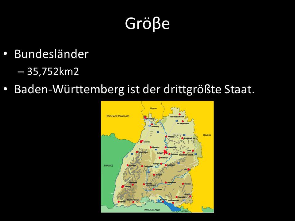 Gröβe Bundesländer Baden-Württemberg ist der drittgrößte Staat.