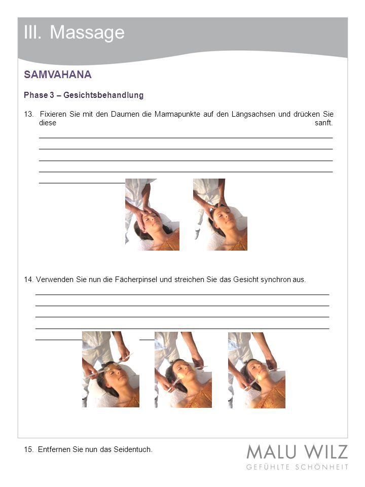 III. Massage SAMVAHANA. Phase 3 – Gesichtsbehandlung.