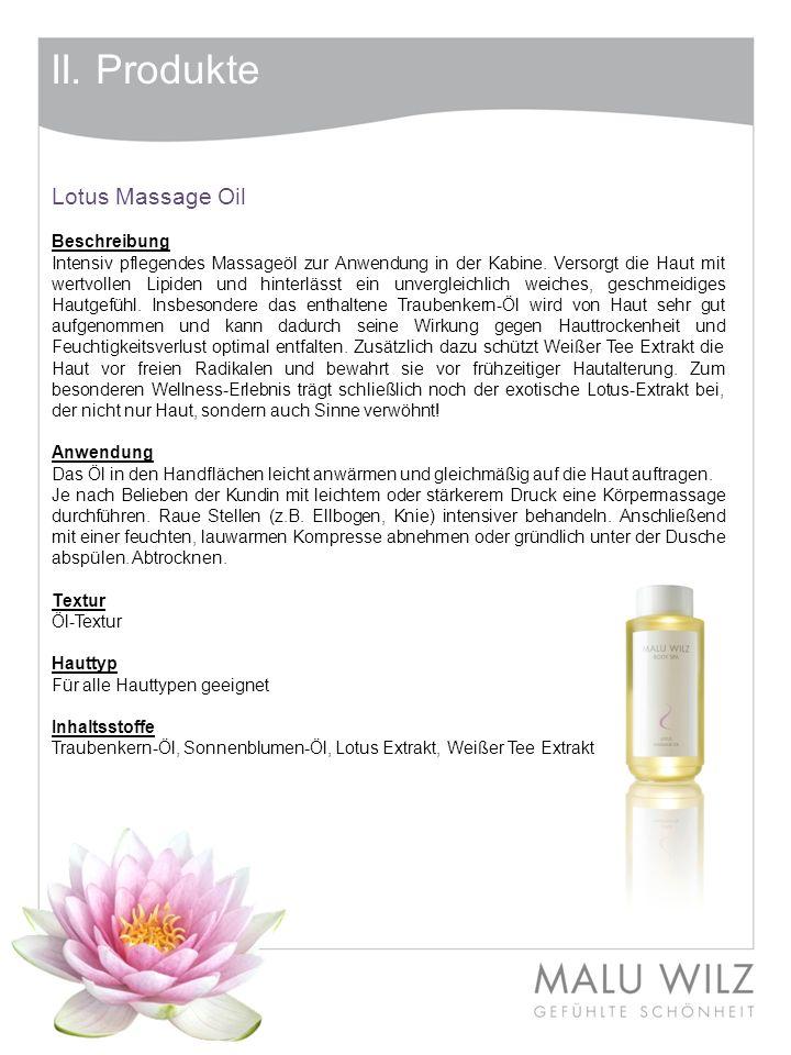 II. Produkte Lotus Massage Oil Beschreibung