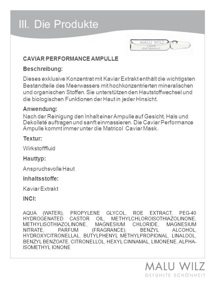 III. Die Produkte CAVIAR PERFORMANCE AMPULLE Beschreibung: