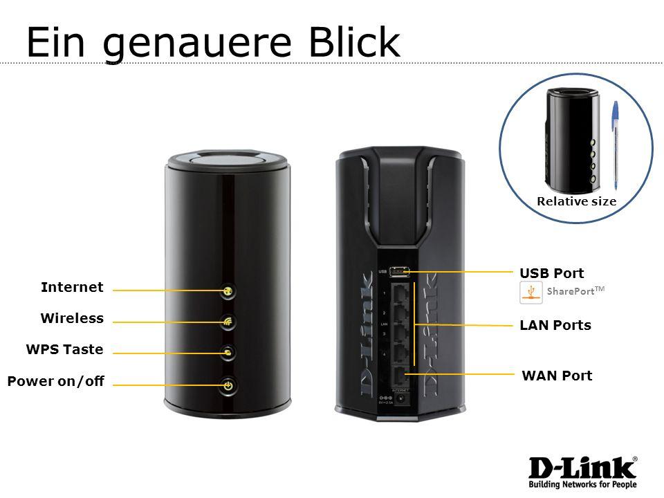 Ein genauere Blick USB Port Internet Wireless LAN Ports WPS Taste