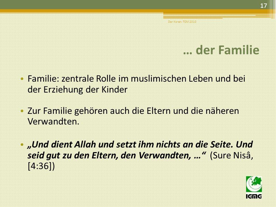 Der Koran- TOM 2010 … der Familie. Familie: zentrale Rolle im muslimischen Leben und bei der Erziehung der Kinder.