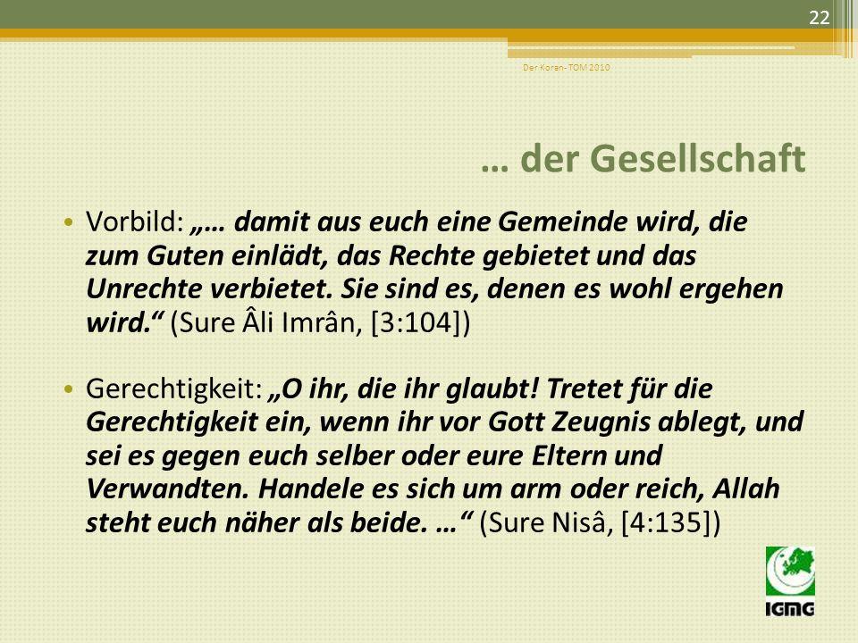 Der Koran- TOM 2010 … der Gesellschaft.