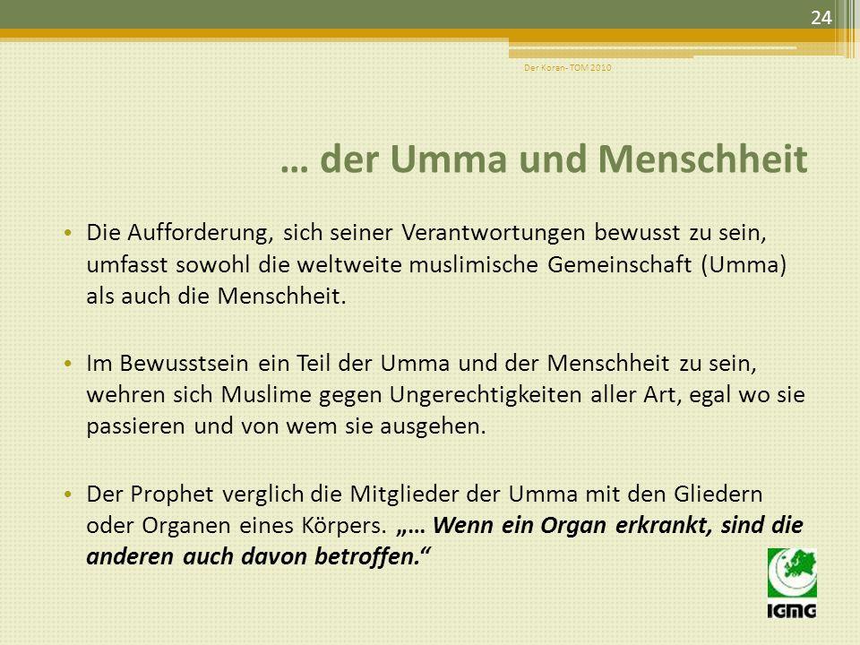 … der Umma und Menschheit