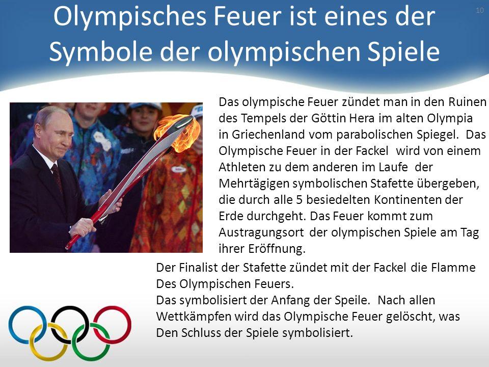 Olympisches Feuer ist eines der Symbole der olympischen Spiele