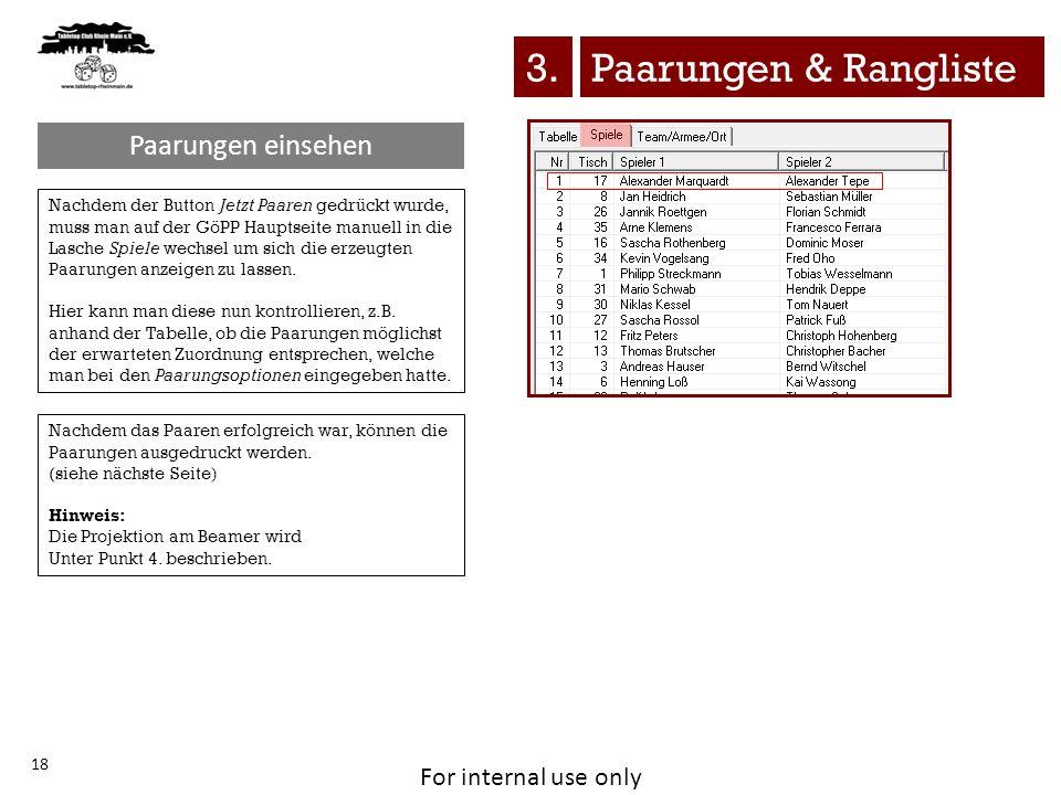 3. Paarungen & Rangliste Paarungen einsehen