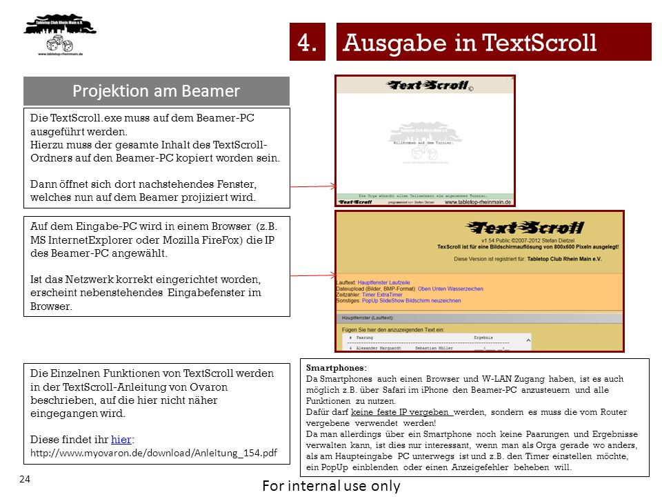 4. Ausgabe in TextScroll Projektion am Beamer