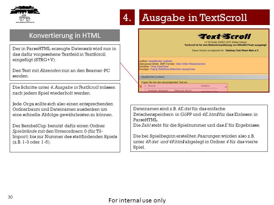 4. Ausgabe in TextScroll Konvertierung in HTML