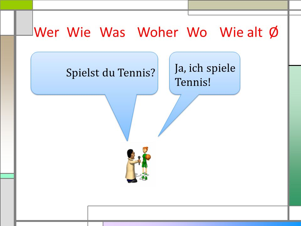 Wer Wie Was Woher Wo Wie alt Ø Ja, ich spiele Tennis!