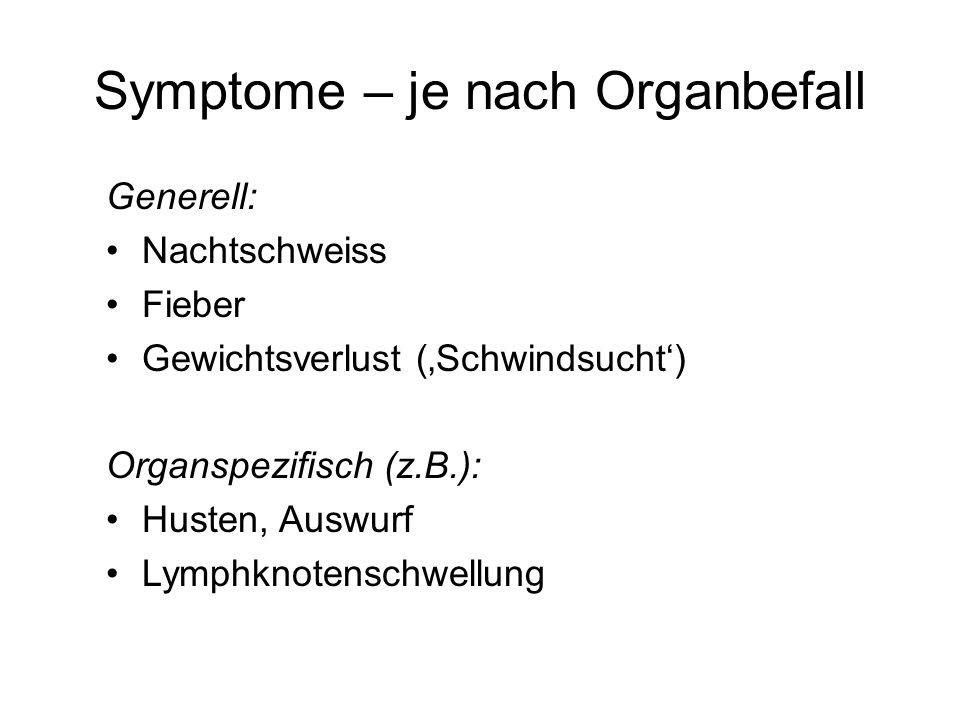 Symptome – je nach Organbefall