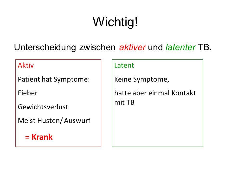 Wichtig! Unterscheidung zwischen aktiver und latenter TB. = Krank