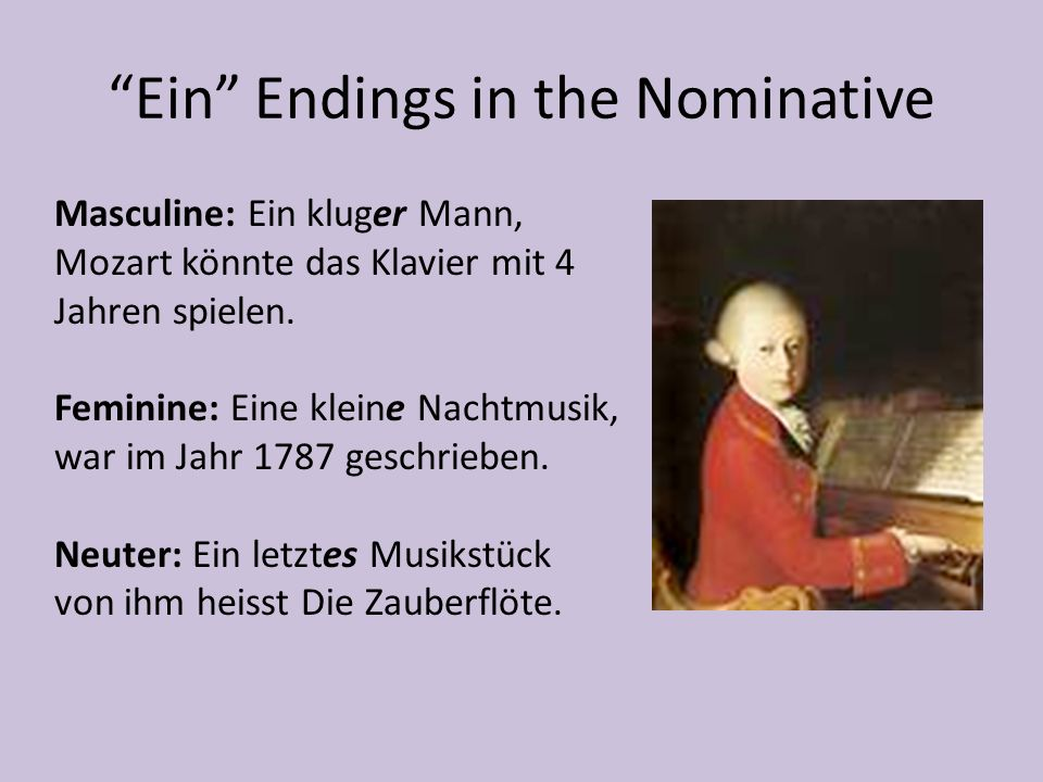 Ein Endings in the Nominative