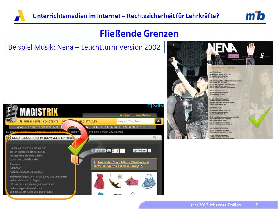 Fließende Grenzen Beispiel Musik: Nena – Leuchtturm Version 2002