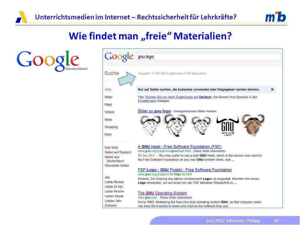 """Wie findet man """"freie Materialien"""