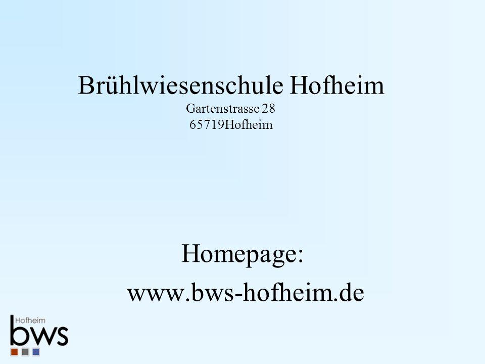 Brühlwiesenschule Hofheim Gartenstrasse 28 65719Hofheim