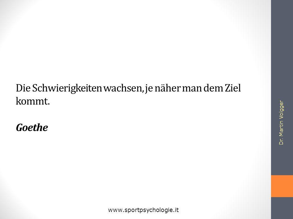 Die Schwierigkeiten wachsen, je näher man dem Ziel kommt. Goethe