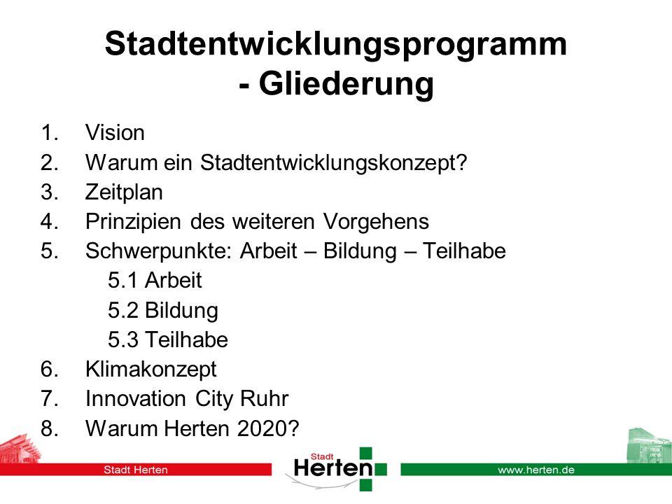 Stadtentwicklungsprogramm - Gliederung