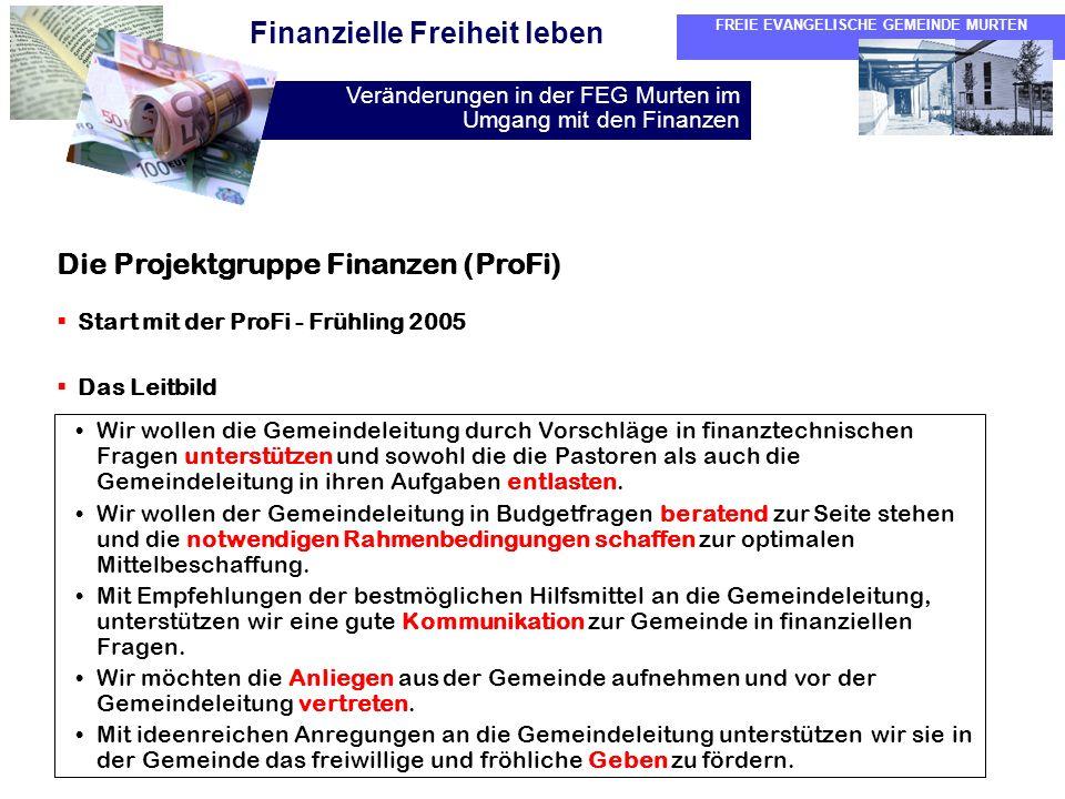Die Projektgruppe Finanzen (ProFi)