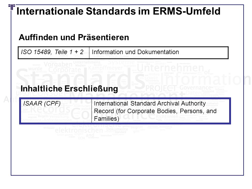 Internationale Standards im ERMS-Umfeld