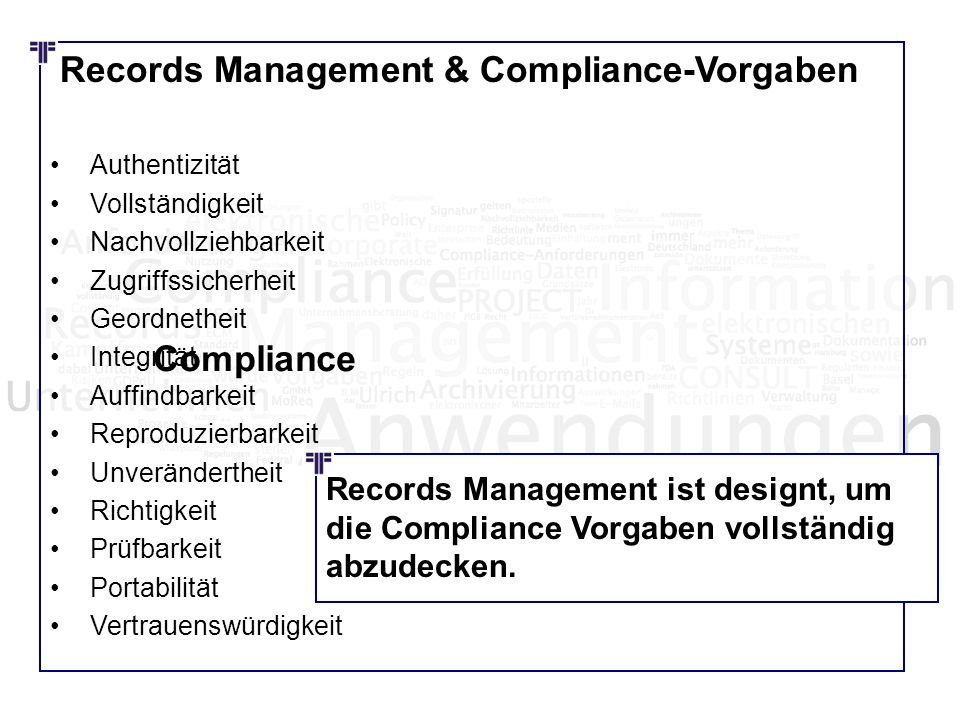 Records Management & Compliance-Vorgaben
