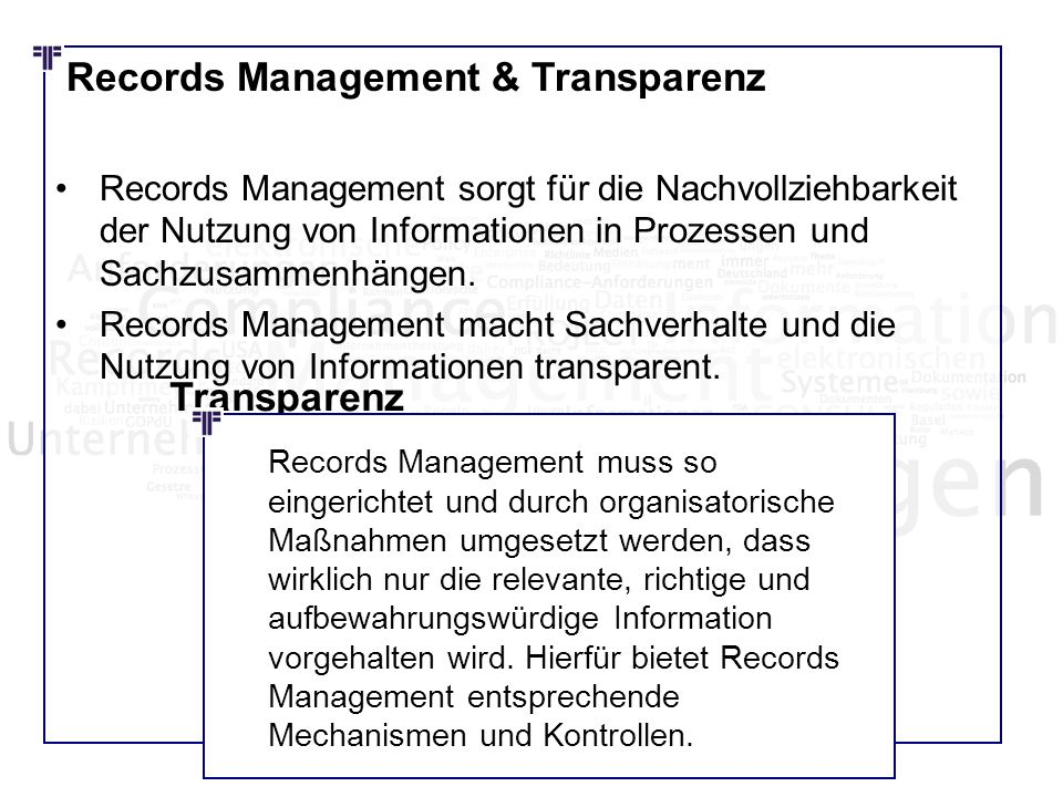 Records Management & Transparenz