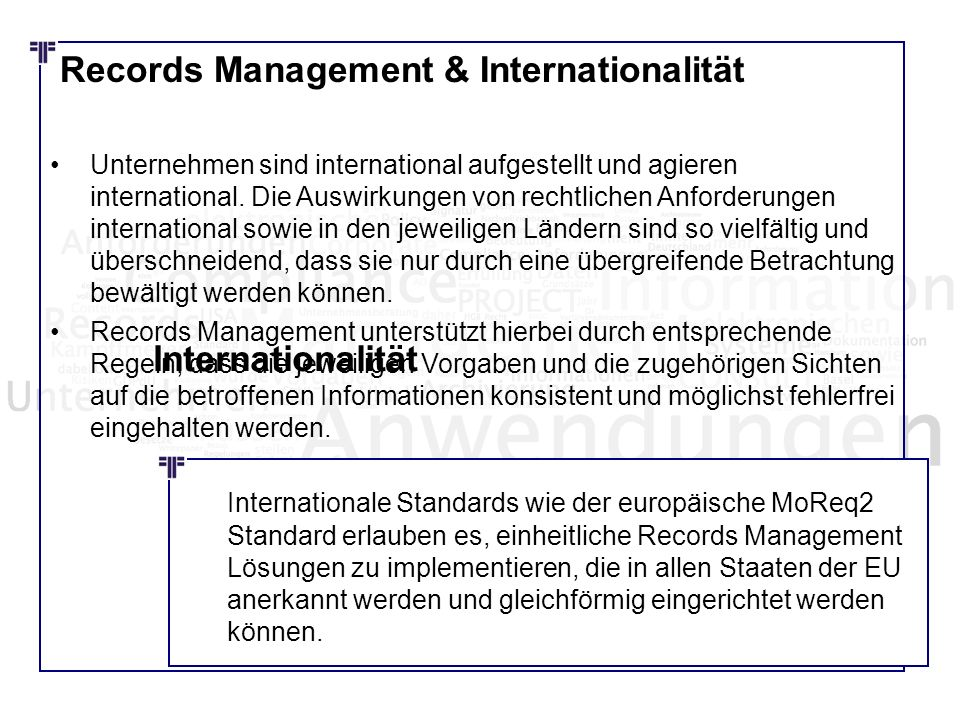 Records Management & Internationalität