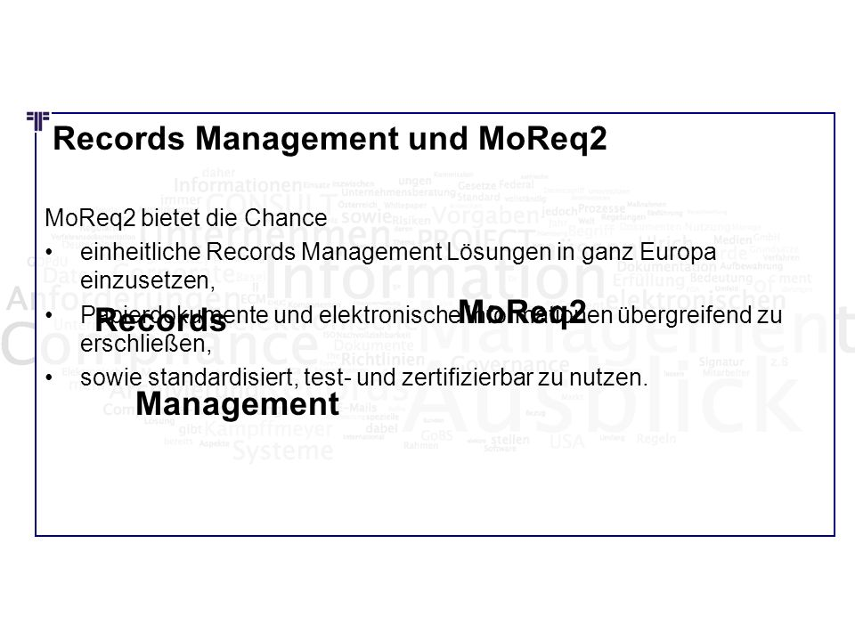 MoReq2 Records Management Records Management und MoReq2
