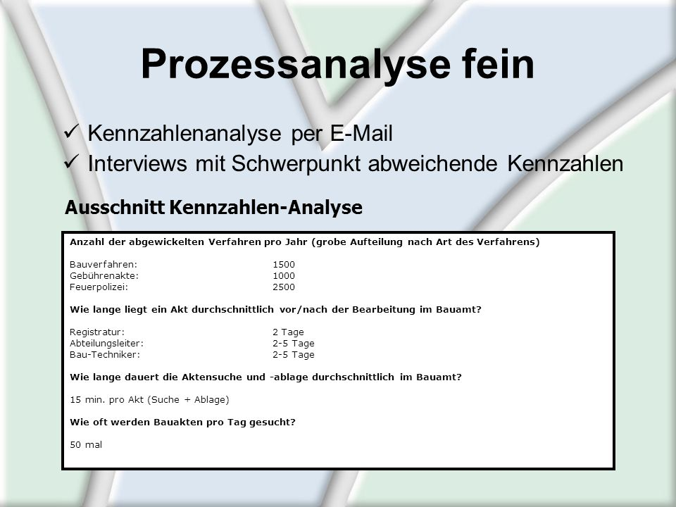 Prozessanalyse fein Kennzahlenanalyse per E-Mail