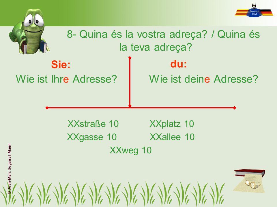 8- Quina és la vostra adreça / Quina és la teva adreça