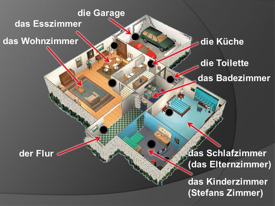die Garage das Esszimmer. das Wohnzimmer. die Küche. die Toilette. das Badezimmer. der Flur. das Schlafzimmer.