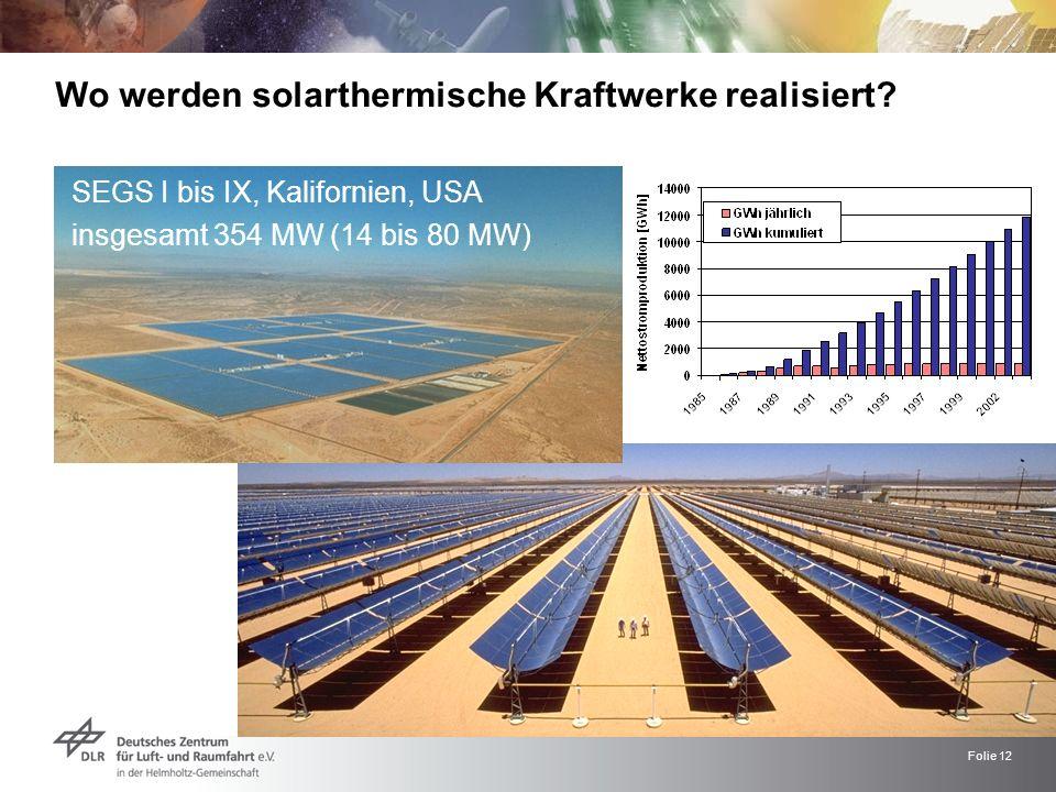 Wo werden solarthermische Kraftwerke realisiert