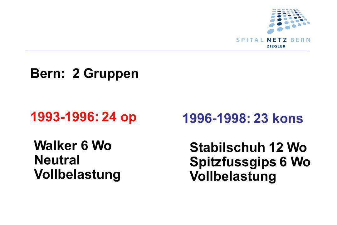 Bern: 2 Gruppen 1993-1996: 24 op. Walker 6 Wo. Neutral. Vollbelastung. 1996-1998: 23 kons. Stabilschuh 12 Wo.