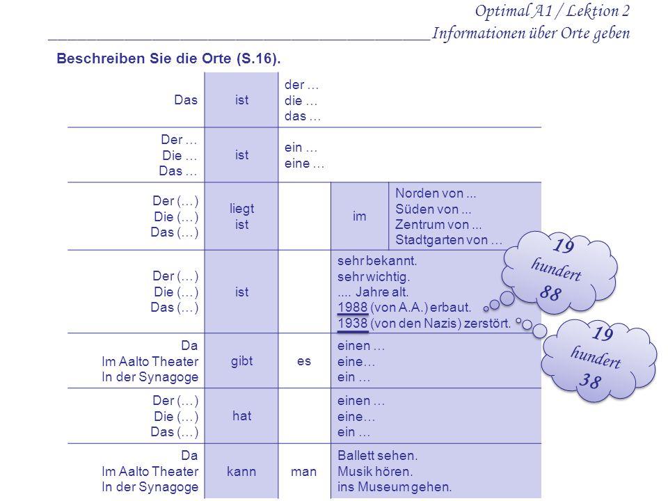 Optimal A1 / Lektion 2 _________________________________________Informationen über Orte geben