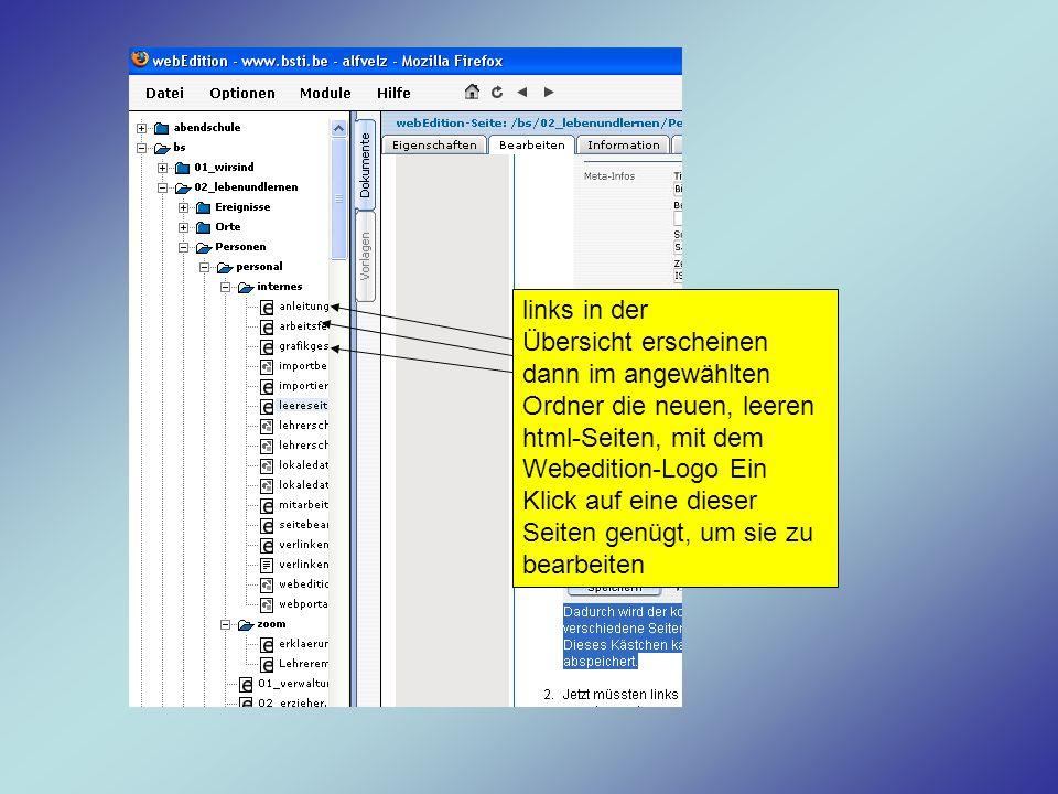 links in der Übersicht erscheinen dann im angewählten Ordner die neuen, leeren html-Seiten, mit dem Webedition-Logo Ein Klick auf eine dieser Seiten genügt, um sie zu bearbeiten