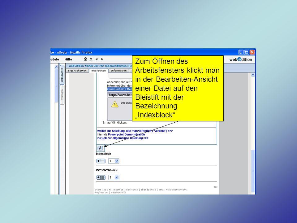 """Zum Öffnen des Arbeitsfensters klickt man in der Bearbeiten-Ansicht einer Datei auf den Bleistift mit der Bezeichnung """"Indexblock"""
