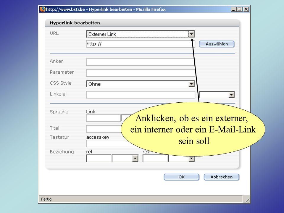 Anklicken, ob es ein externer, ein interner oder ein E-Mail-Link