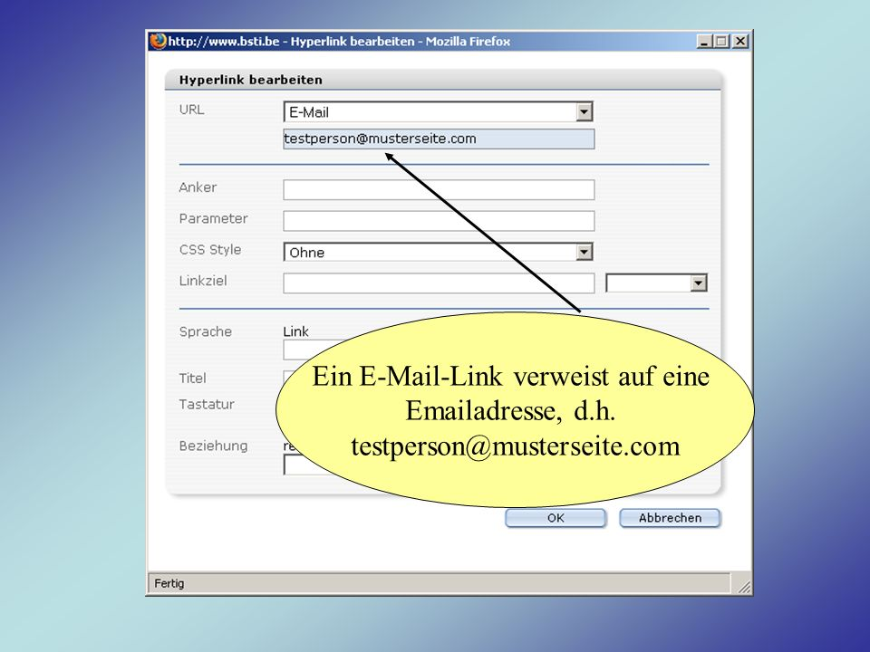 Ein E-Mail-Link verweist auf eine