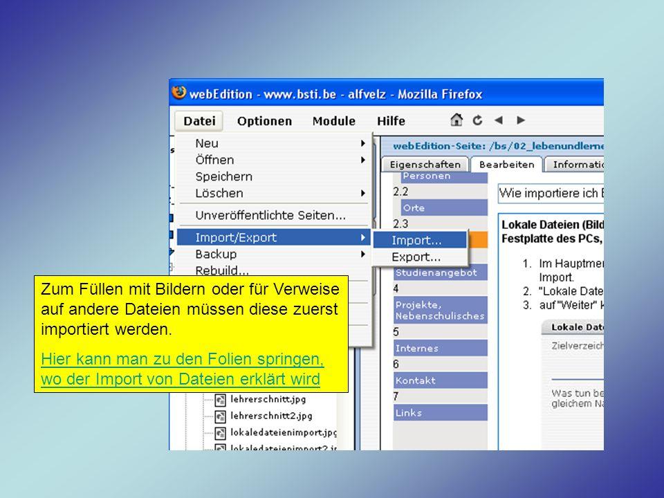 Zum Füllen mit Bildern oder für Verweise auf andere Dateien müssen diese zuerst importiert werden.