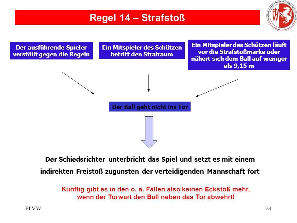 Regel 14 – Strafstoß Ein Mitspieler des Schützen läuft. vor die Strafstoßmarke oder. nähert sich dem Ball auf weniger.