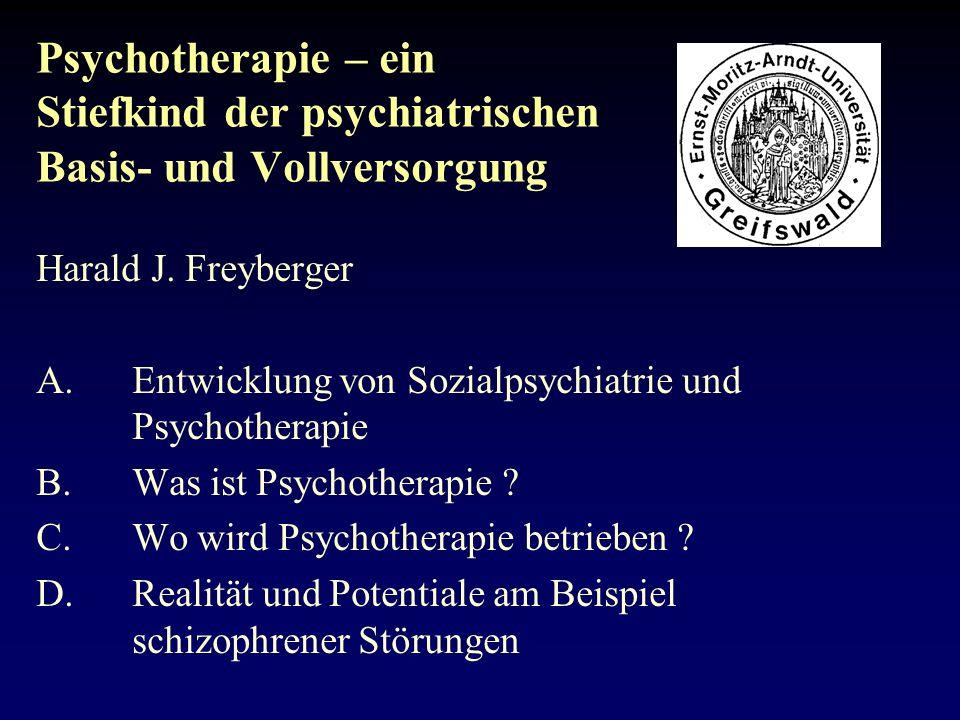 Psychotherapie – ein Stiefkind der psychiatrischen Basis- und Vollversorgung
