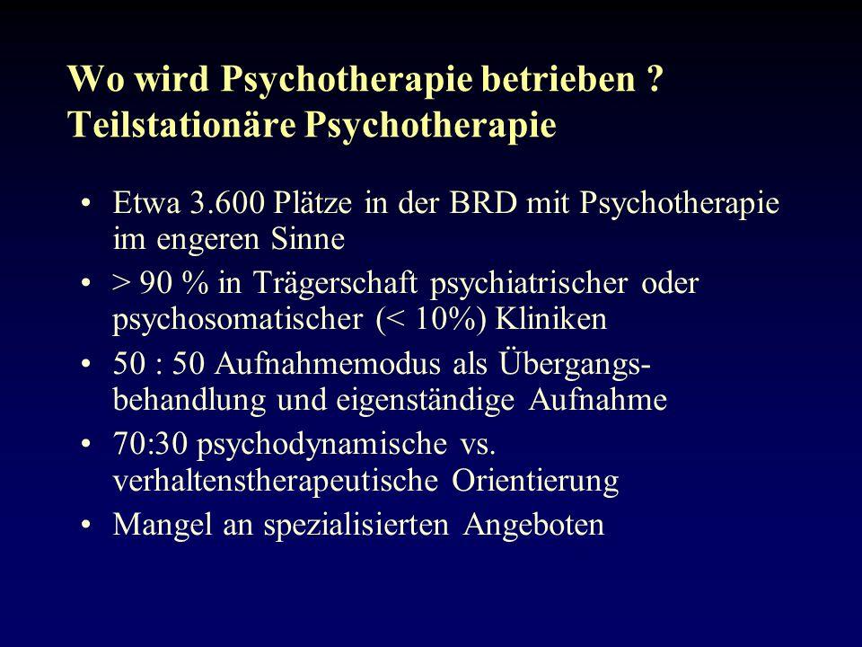 Wo wird Psychotherapie betrieben Teilstationäre Psychotherapie
