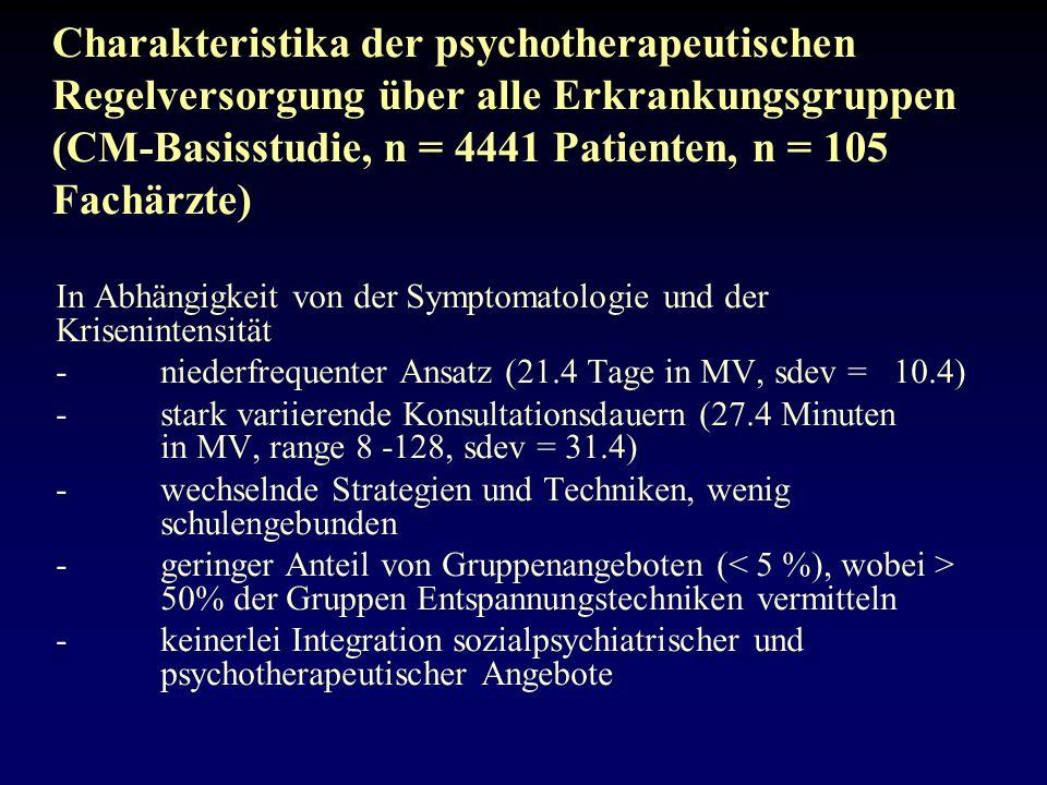 Charakteristika der psychotherapeutischen Regelversorgung über alle Erkrankungsgruppen (CM-Basisstudie, n = 4441 Patienten, n = 105 Fachärzte)