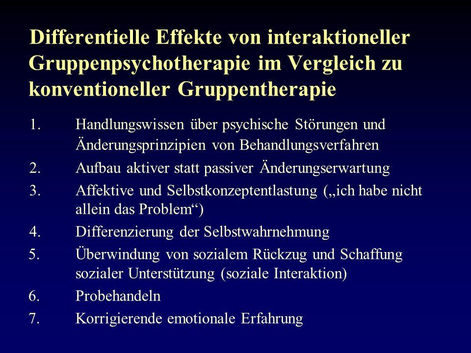 Differentielle Effekte von interaktioneller Gruppenpsychotherapie im Vergleich zu konventioneller Gruppentherapie