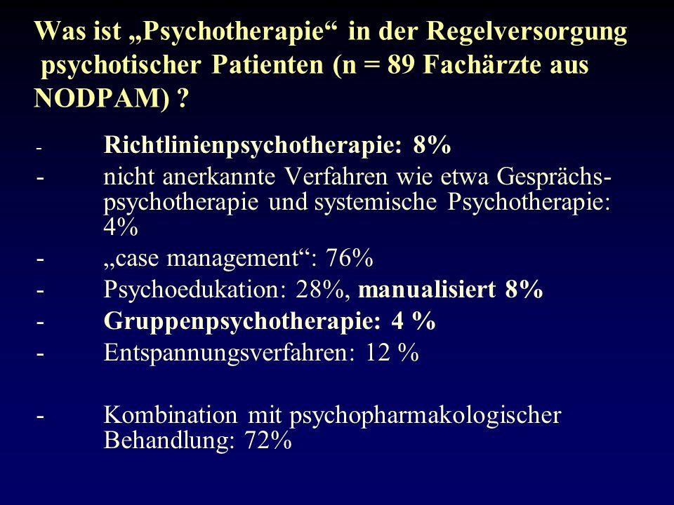 """Was ist """"Psychotherapie in der Regelversorgung psychotischer Patienten (n = 89 Fachärzte aus NODPAM)"""
