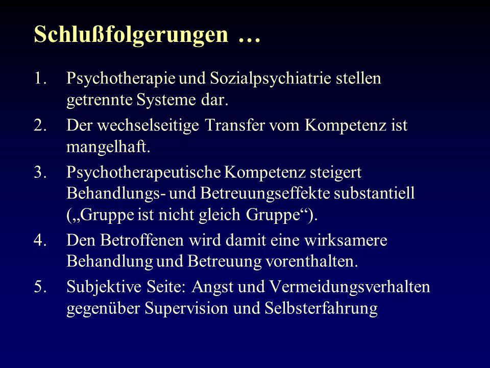 Schlußfolgerungen … Psychotherapie und Sozialpsychiatrie stellen getrennte Systeme dar. Der wechselseitige Transfer vom Kompetenz ist mangelhaft.